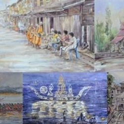 The watercolor painting reflects the culture of Chiang Khan community