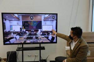 KKU Smart City Operation Center is adopting the 3-dimension high-resolution Digital Twin map, one of the smart administrative systems in assisting the police when facing a bad incident